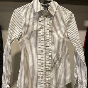 White House black market pinstripe ruffle shirt